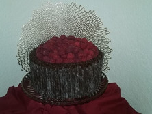 Chocolate Cigarello Cake with fresh Raspberries