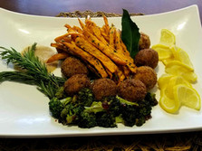 Cajun Crab Balls, Sweet Potato Fries & Broccoli Florets
