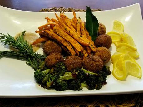 Cajun Crab Balls, Sweet Potato Fries & Broccoli Florets
