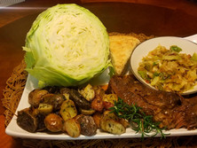 Fork Tender Pot Roast with Gravy, Oven Roasted Tri-Colored Potatoes and Pan Fried Cabbage