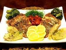 House Seasoned, Pan Seared Steelhead Trout with Roasted Fennell, Tomatoes and Broccoli.