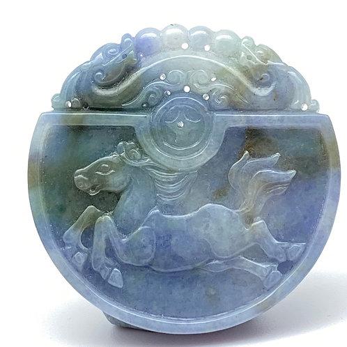 Jadeite Pendant: Blue and lavender jade pendant of horse