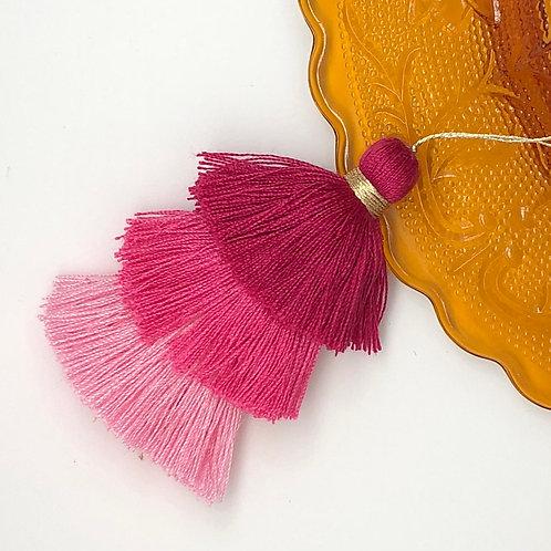 Cotton tassel ~ #3 Red, Blood Orange, Orange Pink