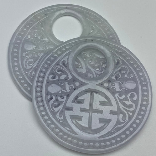 Jadeite pendant ~ a pair of translucent Lavender jade carved donut