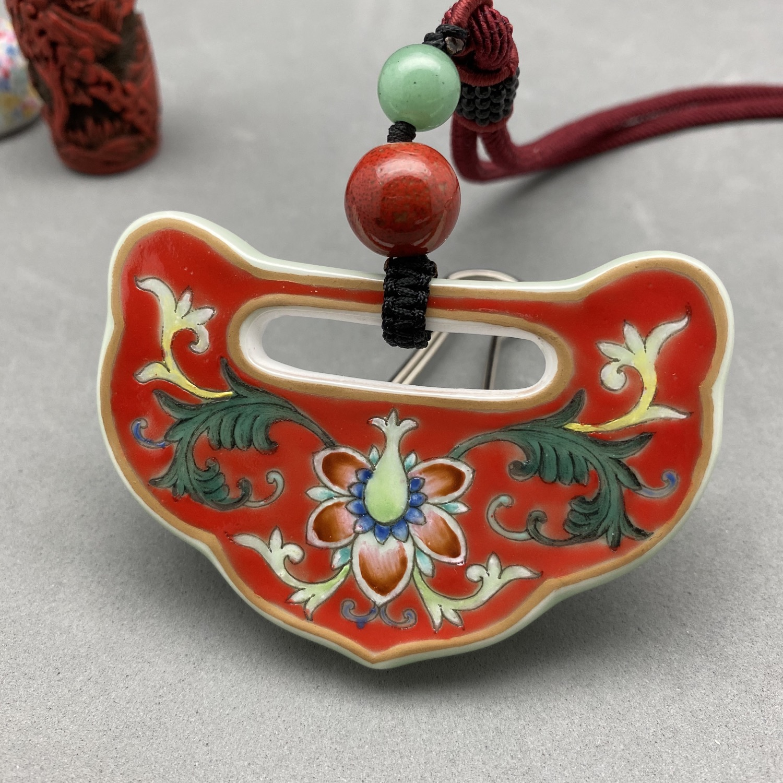Red porcelain pendant