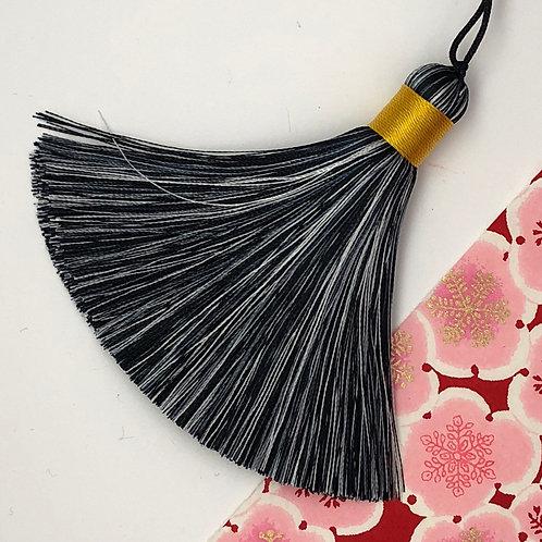 Medium Tassel ~ Black and White, Gold Top