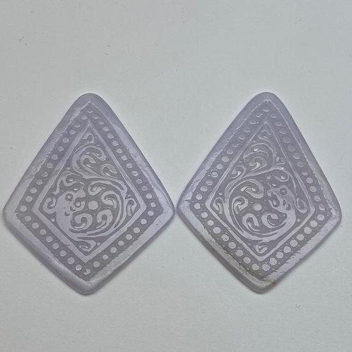 Jadeite pendant ~ a pair of translucent Lavender jade rectangular shape