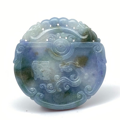 Jadeite Pendant: Blue and lavender jade pendant of lucky characters