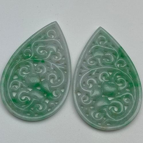 Jadeite pendant ~ a pair of apple green jade teardrop with peach motif