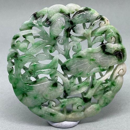 Jadeite Pendant: Apple green pendant of carp fish in a lotus pond