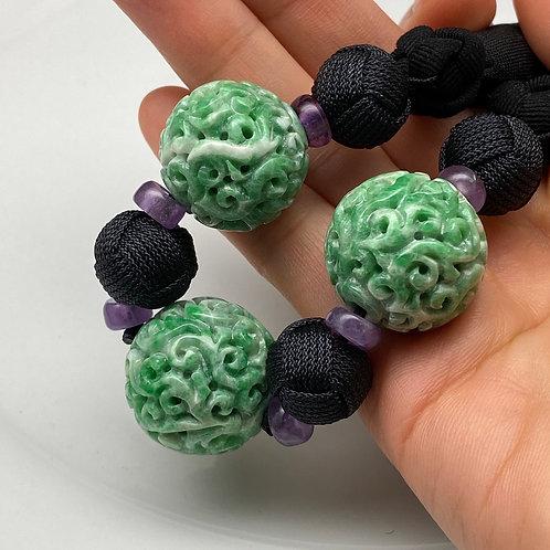 "Jadeite Necklace ~ Green jadeite bead carved with ""Cloud"" design"