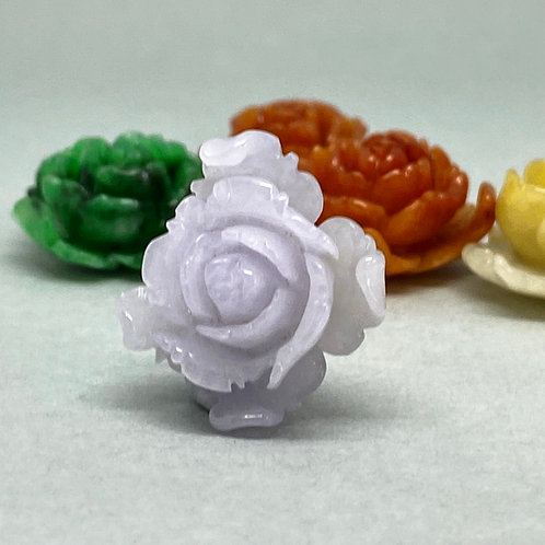 Jadeite Charm ~  A translucent Lavender jadeite rose charm