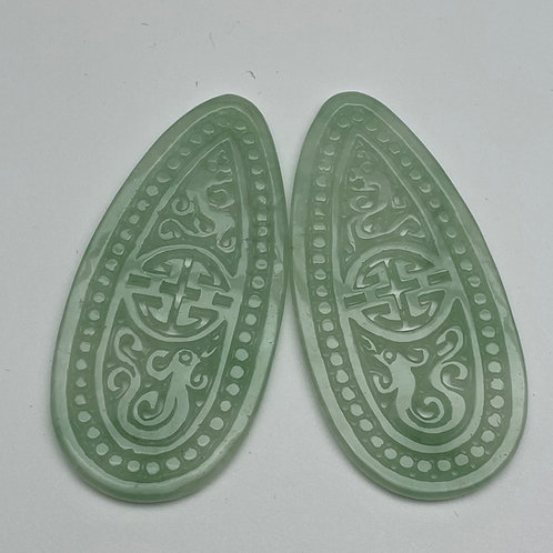 Jadeite pendant ~ a pair of translucent green jade teardrop