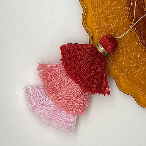 Cotton tassel ~ #4 Red, Orange, Pink