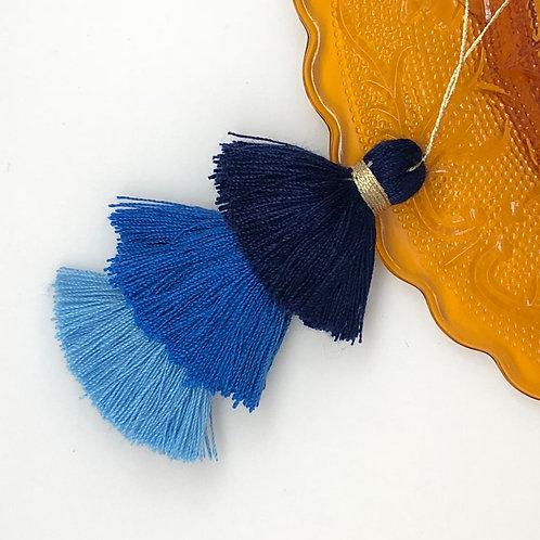Cotton tassel~ #5 Dark blue, blue, powder blue