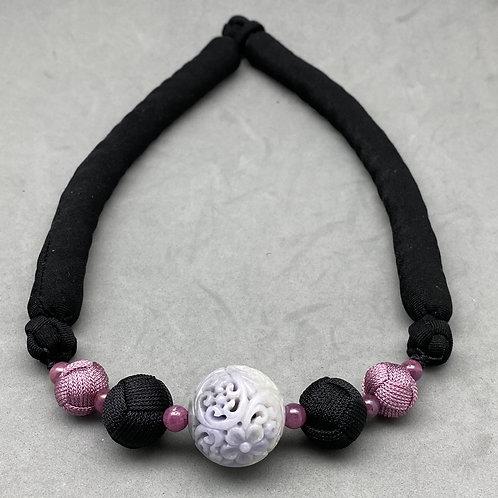 copy of Jadeite Necklace ~ Lavender jadeite focal bead with floral design