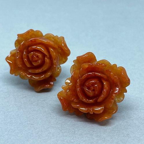 Jadeite Charm ~  A translucent rustic red jadeite rose charm