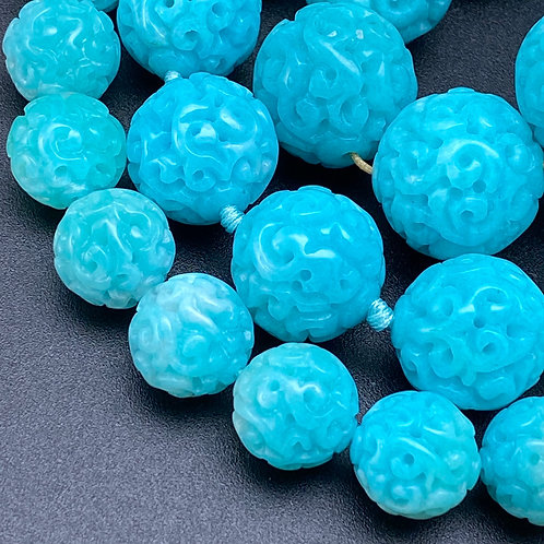 Hand carved Amazonite beads