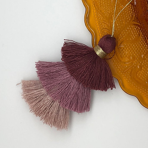 Cotton tassel ~ #14 Rosy ebony, tea rose and taupe