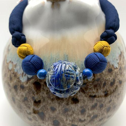 Necklace: Lapis Lazuli bead carved longevity and dragon symbol