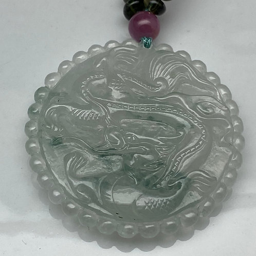 Jadeite necklace ~ Exceptionally translucent jadeite medallion and tourmaline