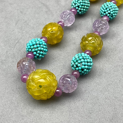Signature Necklace: Cocktail mix of antique turquoise, amethyst, yellow jade