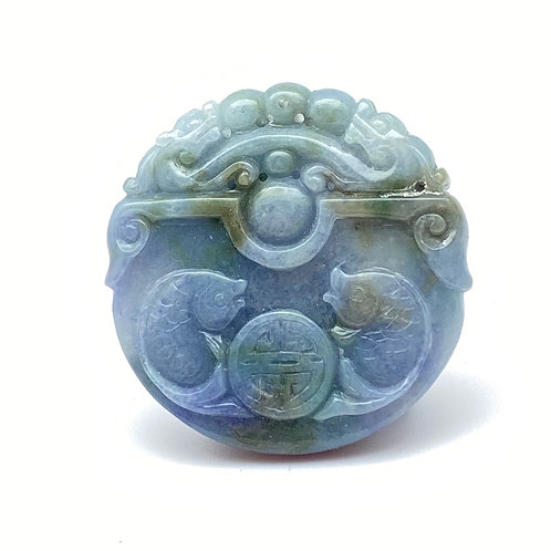 Jadeite Pendant: Blue and lavender jade pendant of double fish