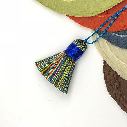 Small Tassel ~ Rainbow, Blue Top