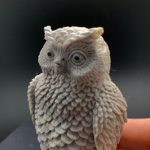 Moose Antler Carving: Owl
