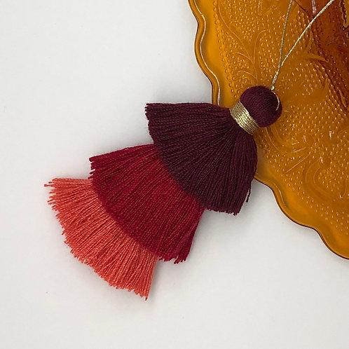 Cotton tassel ~ #1 burgundy, red and orange