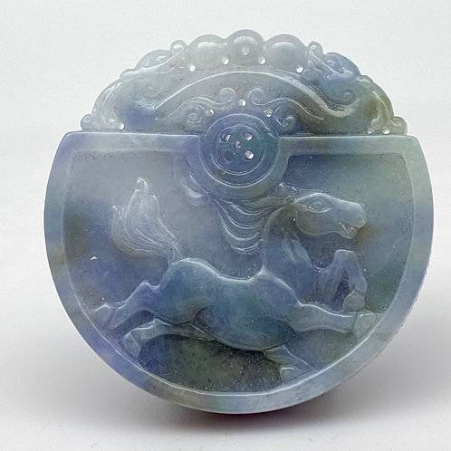 Jadeite Pendant: Blue and lavender jade pendant of horse