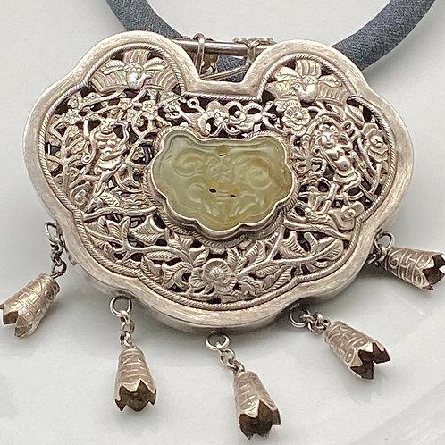 Vintage Mongolian silver lock amulet pendant