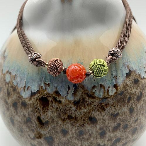 Necklace: Cornelain beads