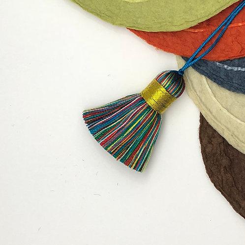 Small Tassel ~ Rainbow, Gold Top