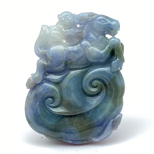Jadeite Pendant: Blue and lavender jade pendant of monkey riding on a horse