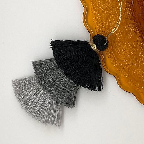 Cotton tassel ~ #22 Black, Grey, Silver