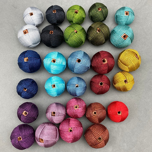 Dozen deal: $80. for 12 pieces of 18mm Fabric Woven Bead