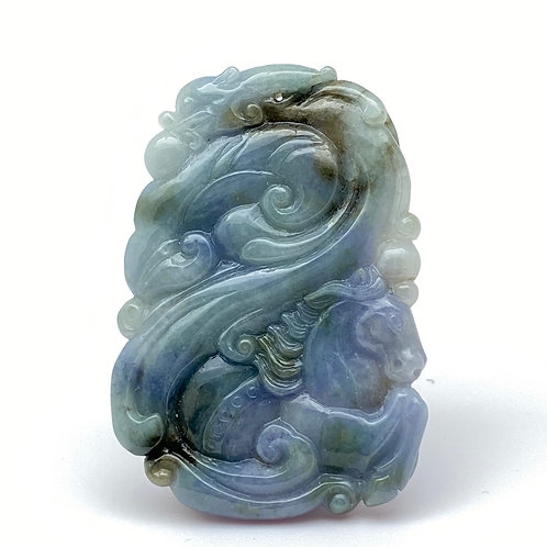 Jadeite Pendant: Blue and lavender jade pendant of dragon and horse