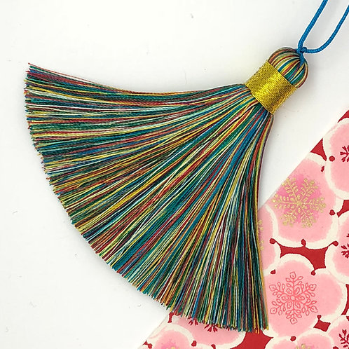 Medium Tassel ~ Rainbow, Gold Top