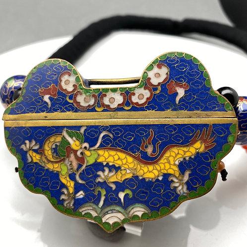 Cloisonné pendant necklace: Lock shape blue ground with a yellow Dragon