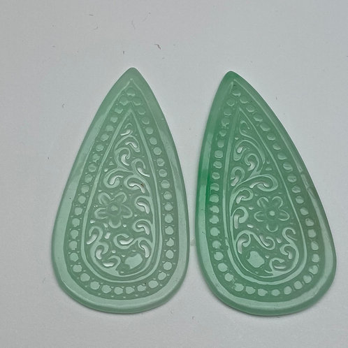 Jadeite pendant ~ a pair of translucent intense green jade teardrop