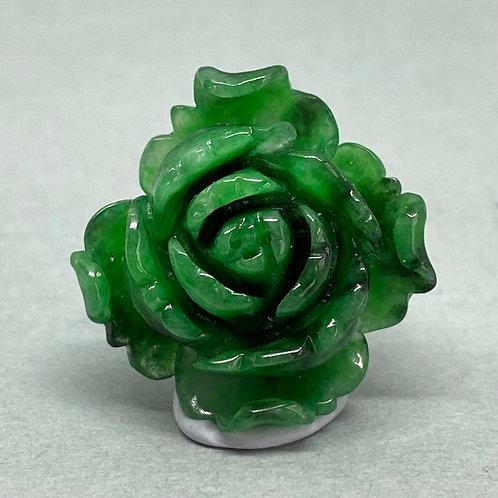 Jadeite Charm ~  A translucent green jadeite rose charm