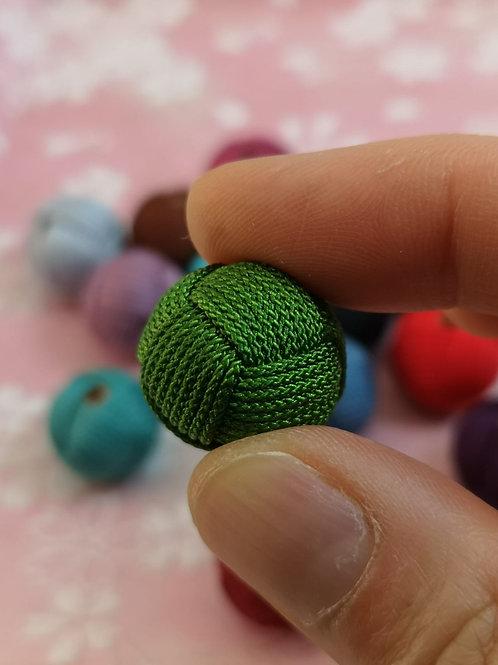 String Woven Bead ~ Pine green