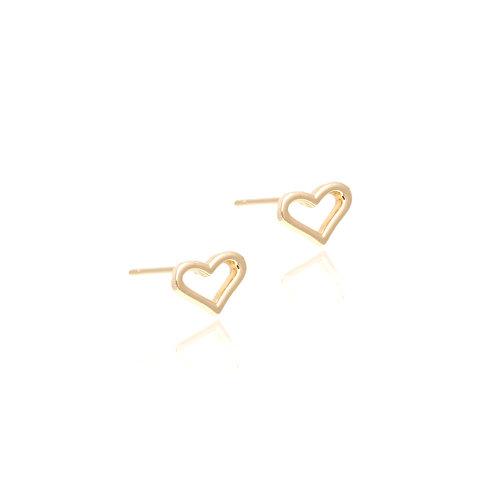 Brinco Dourado Coração Vazado