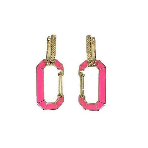 Brinco Argola Mosquetão Pink Neon