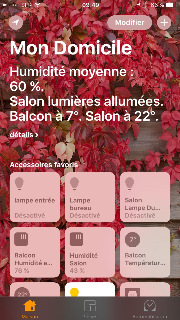 """Interface de l'appli """"Domicile"""" sous iPhone"""