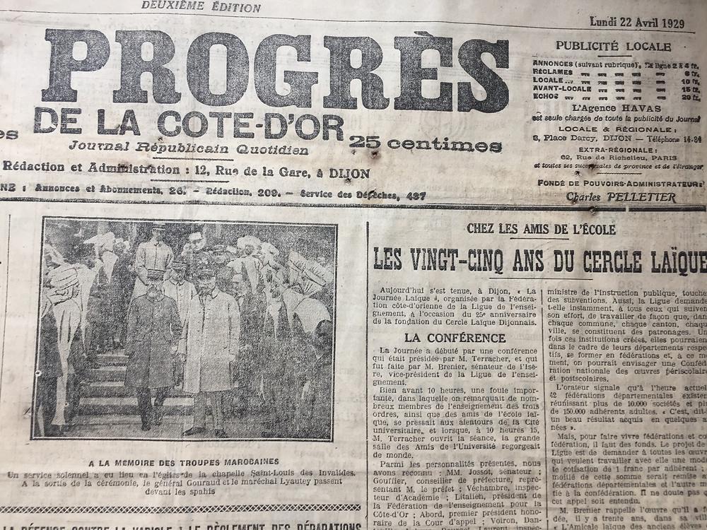 Le Progrès du 22 avril 1929