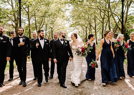 Wedding party in Detroit on street