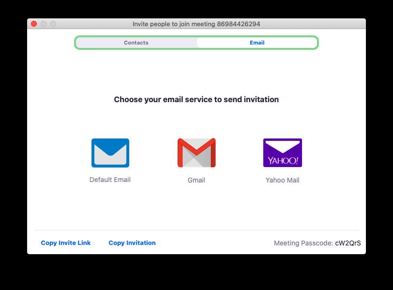 Hoặc chọn gởi Invite Link thông qua Email