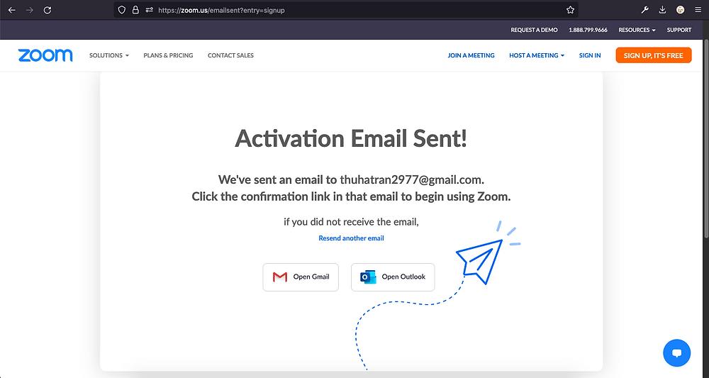 Màn hình thông báo đăng ký thành công, kiểm tra hộp thư trong email để kích hoạt tài khoản
